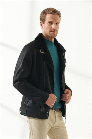 JOE Men Biker Black Shearling Jacket
