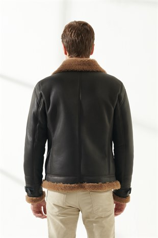 MEN'S SHEARLING JACKETLIAM Men Casual Toffee Shearling Jacket