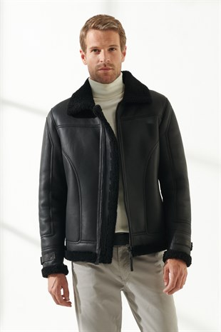LIAM Men Casual Black Shearling Jacket