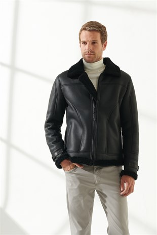 MEN'S SHEARLING JACKETLIAM Men Casual Black Shearling Jacket