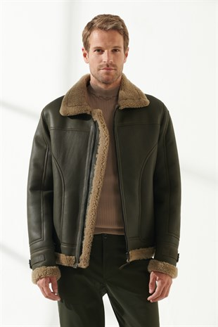 LIAM Men Casual Moss Green Shearling Jacket