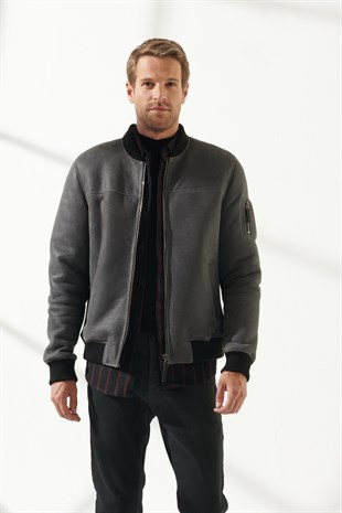 MARK Men Casual Grey Shearling Jacket