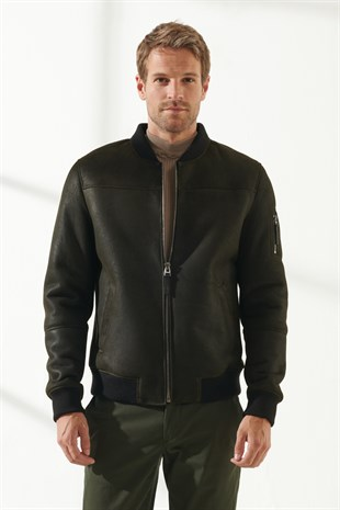 MARK Men Casual Dark Green Shearling Jacket