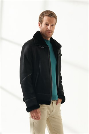 MEN'S SHEARLING JACKETPRONTO Men Bomber Black Shearling Jacket