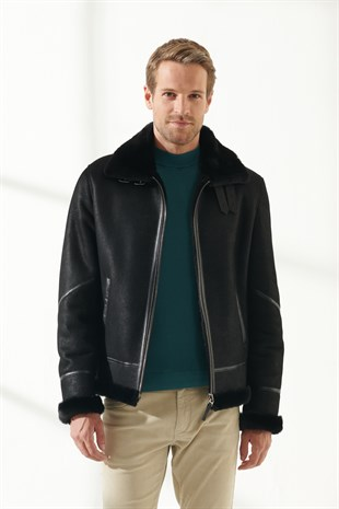 PRONTO Men Bomber Black Shearling Jacket
