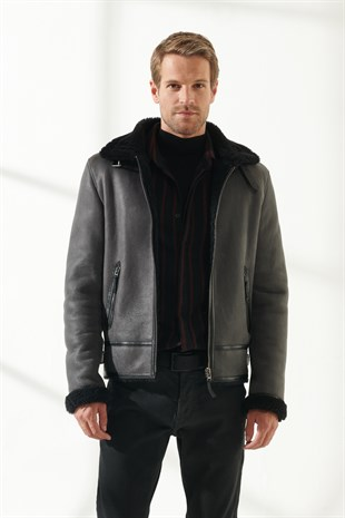 ROBERT Men Aviator Grey Shearling Jacket