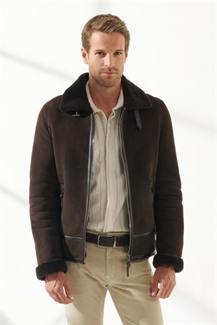 ROBERT Men Aviator Brown Shearling Jacket