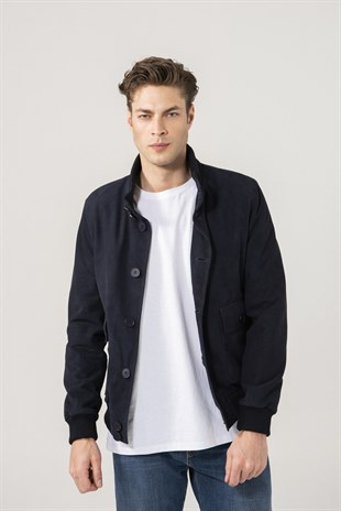 Baron Men Sports Navy Suede Jacket