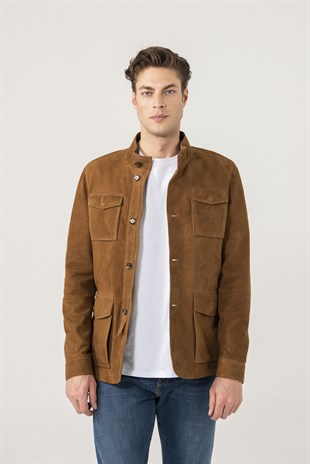 Carlos Men Sports Tan Suede Jacket