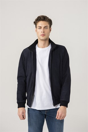 Cedric Men Sports Navy Suede Jacket