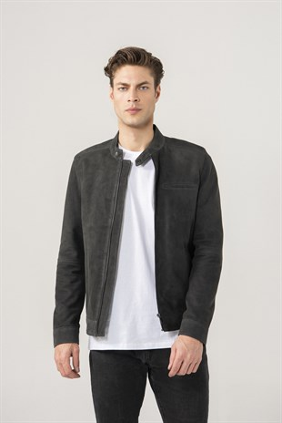 Christian Men Sports Anthracite Suede Jacket
