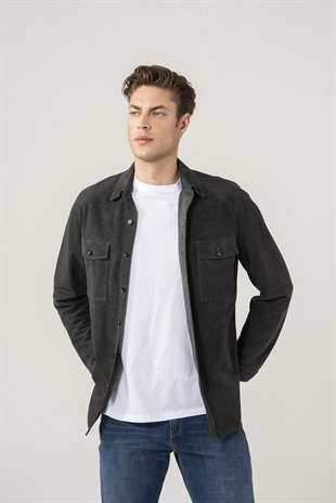 Dustin Men Anthracite Suede Shirt Jacket