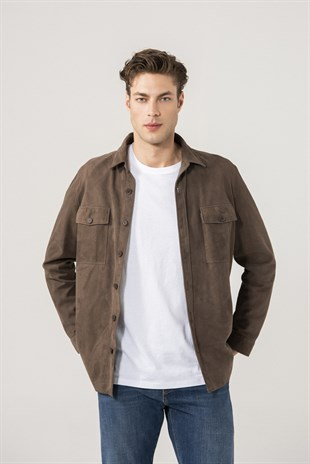 Dustin Men Brown Suede Shirt Jacket