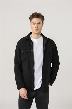 Dustin Men Black Suede Shirt Jacket