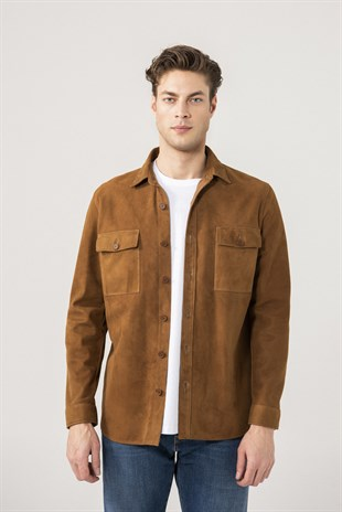 Dustin Men Tan Suede Shirt Jacket