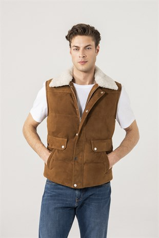 Owen Men Sports Tan Suede Vest