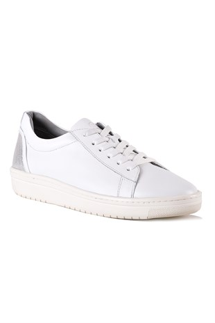 Jasmine White-Silver Leather Women Sneaker