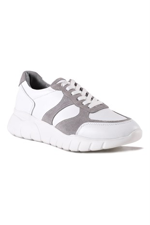 Mina White Grey Women Leather Shoes