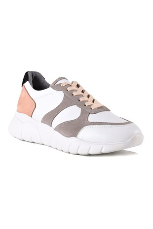 Mina White Grey Salmon Women Leather Shoes