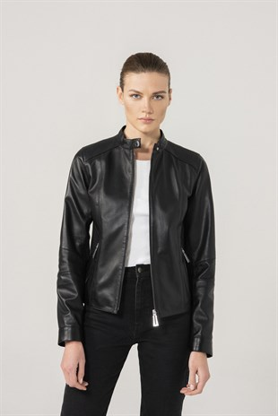AMELIA Women Casual Black Leather Jacket