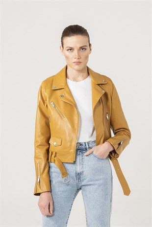 Cindy Women Biker Yellow Leather Jacket