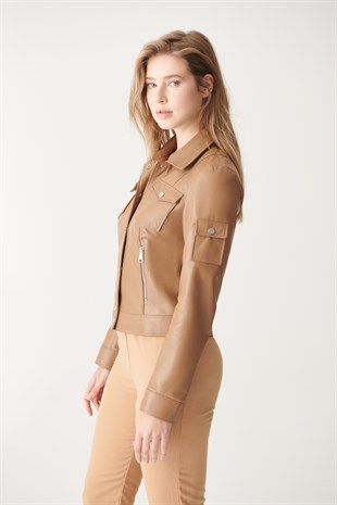 WOMEN'S LEATHER JACKETDEMI Light Brown Sport Leather Jacket