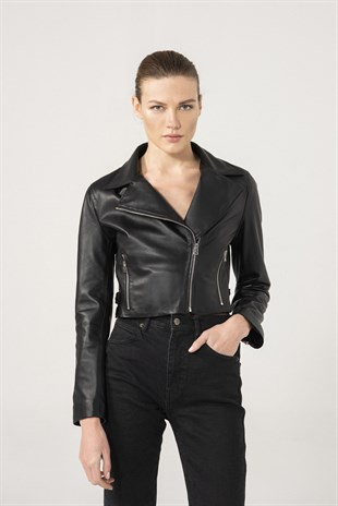 Eliza Women Biker Black Leather Jacket