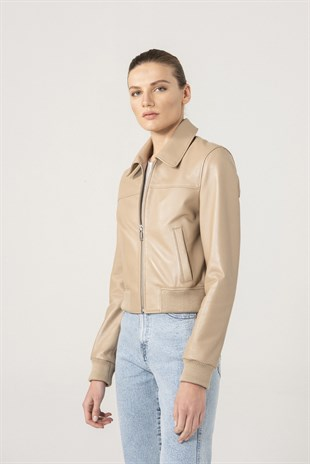 Erica Women College Beige Leather Jacket