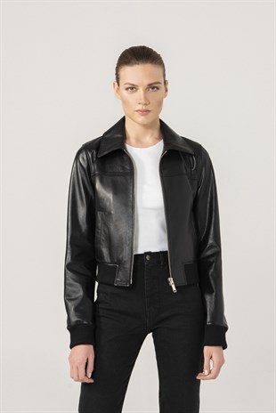 Erica Women College Black Leather Jacket