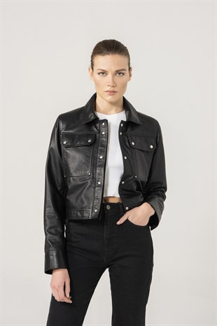 FIONA Women Black Leather Denim Jacket