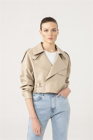 GABRIELLA Women Oversize Beige Leather Jacket