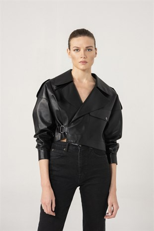 GABRIELLA Women Oversize Black Leather Jacket