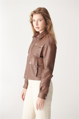 WOMEN'S LEATHER JACKETKATE Tan Sport Leather Jacket