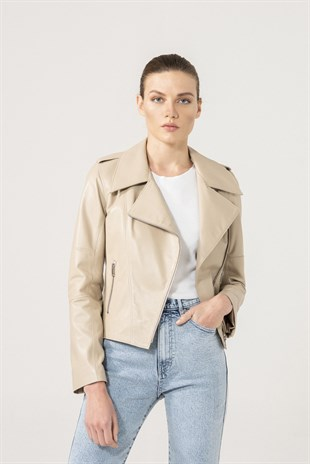 LILY Women Biker Beige Leather Jacket