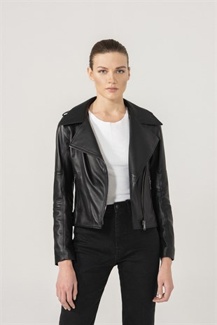 LILY Women Biker Black Leather Jacket
