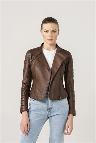 MARIA Women Biker Brown Leather Jacket