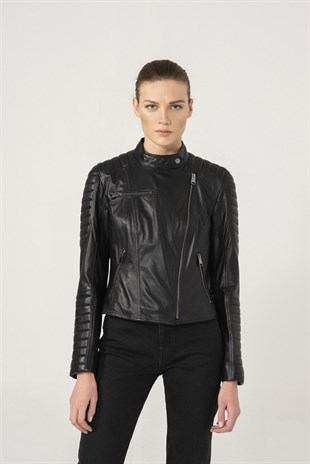 MARIA Women Biker Black Leather Jacket