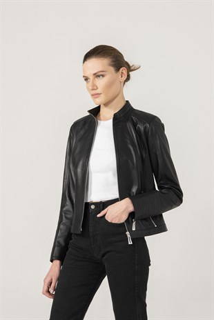 Melanie Women Sport Black Leather Jacket