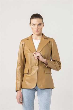Olivia Women Single Button Sand Leather Blazer Jacket