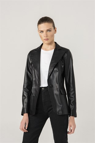 Olivia Women Single Button Black Leather Blazer Jacket