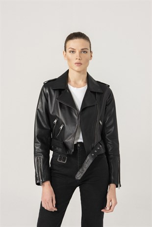 SELENA Women Biker Black Leather Jacket