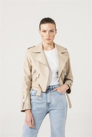 SELENA Women Biker Beige Leather Jacket
