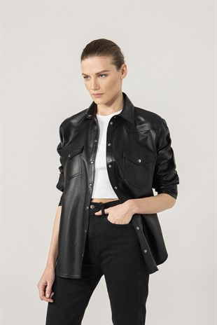 Sophia Women Black Leather Shirt Jacket