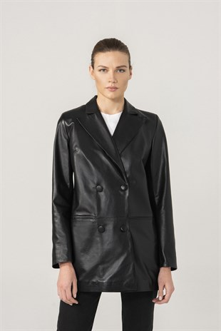 ZOE Women Black Leather Double Breasted Blazer Jacket