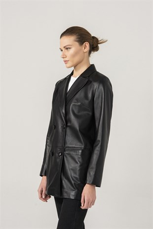 WOMEN'S LEATHER JACKETZOE Women Black Leather Double Breasted Blazer Jacket