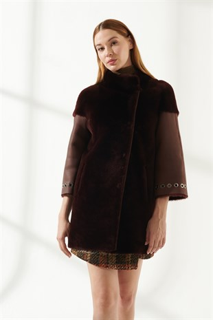 ALEXA Women Casual Bordeaux Shearling Coat