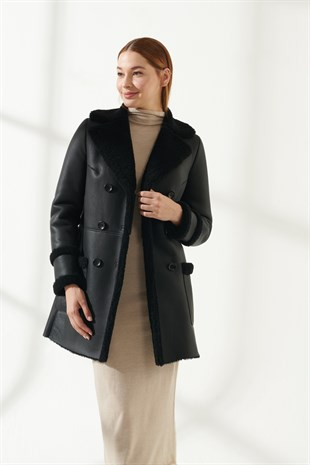 BARBARA Women Casual Black Shearling Coat