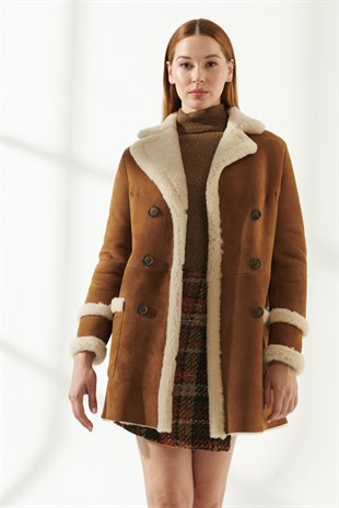 BARBARA Women Casual Tan Shearling Coat