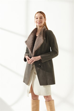 CLARA Women Casual Grey Shearling Coat