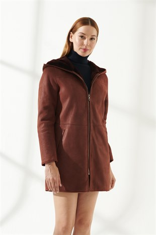 ELLA Women Casual Bordeaux Shearling Coat